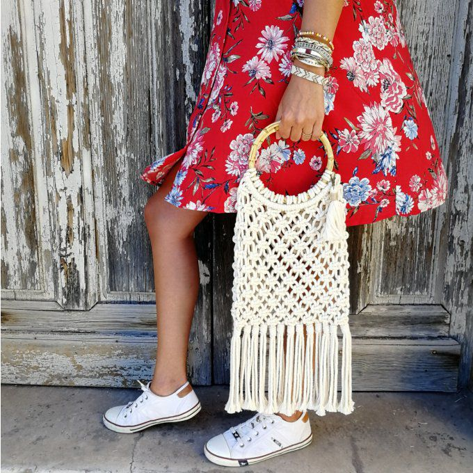sac filet macramé